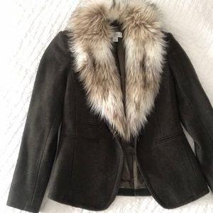 LOFT Fur Collared Wool Blazer